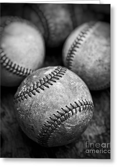 Baseball Equipment Greeting Cards - Old Baseballs in Black and White Greeting Card by Edward Fielding