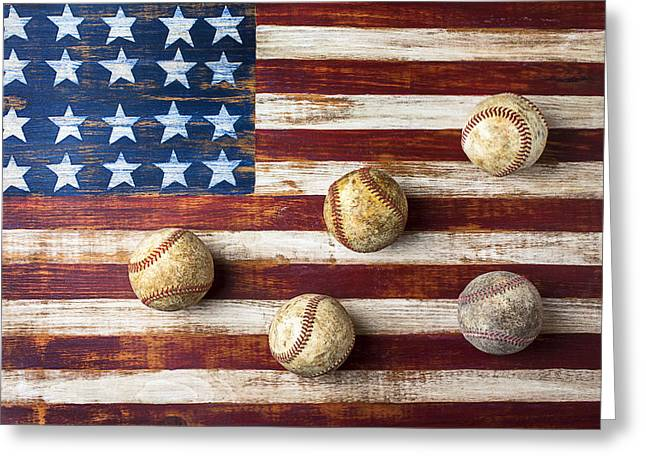 Play Photographs Greeting Cards - Old baseballs on folk art flag Greeting Card by Garry Gay