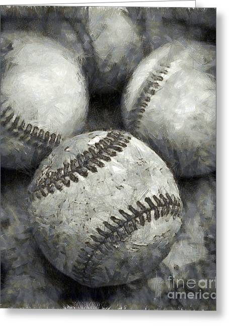 Caves Drawings Greeting Cards - Old Baseballs Pencil Greeting Card by Edward Fielding