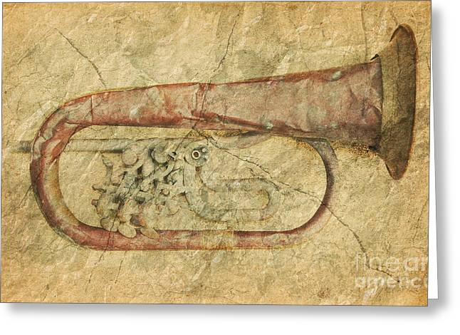 Rumpled Greeting Cards - Old Battered Trumpet Greeting Card by Michal Boubin