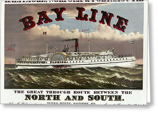 Paddle Wheel Greeting Cards - OLD BAY LINE of BALTIMORE  1877 Greeting Card by Daniel Hagerman