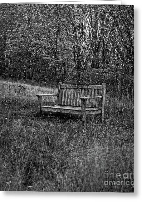 Old Bench Concord Massachusetts Greeting Card by Edward Fielding