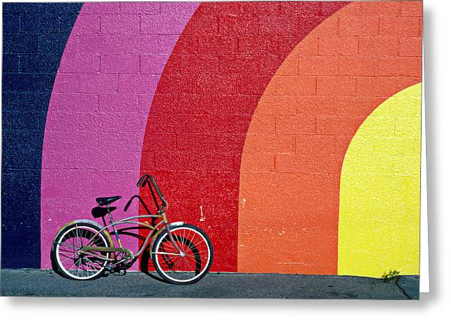 Red Buildings Greeting Cards - Old bike Greeting Card by Garry Gay