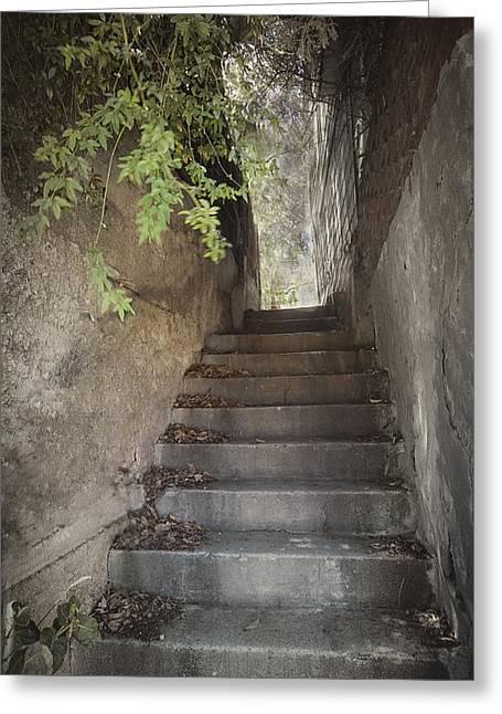 Bisbee Greeting Cards - Old Bisbee Stairway Greeting Card by Lynn Andrews