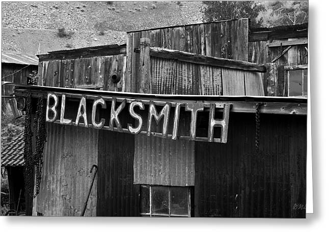 Smithy Greeting Cards - Old Blacksmith Shop Sign BW  Greeting Card by David Gordon