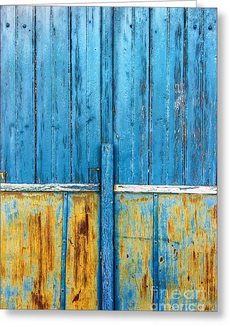 Shed Photographs Greeting Cards - Old Blue Door Detail Greeting Card by Carlos Caetano
