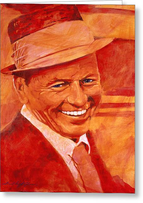 Franks Greeting Cards - Old Blue Eyes Greeting Card by David Lloyd Glover