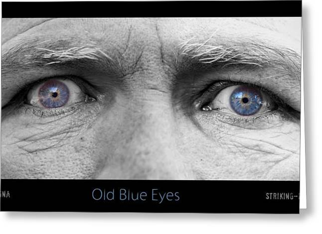 Eyebrow Greeting Cards - Old Blue Eyes Poster Print Greeting Card by James BO  Insogna
