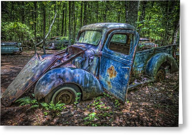 1937 Chevy Greeting Cards - Old Blue in the Woods Greeting Card by Debra and Dave Vanderlaan