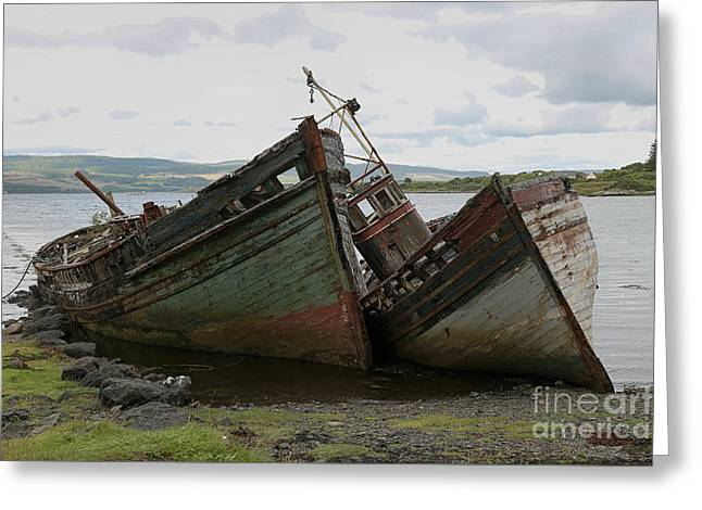 Wooden Ship Greeting Cards - Old boads aground in Isle of Mull Greeting Card by Isabel Poulin