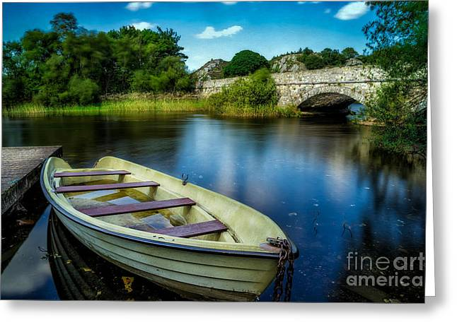 Pier Digital Greeting Cards - Old Boat Greeting Card by Adrian Evans
