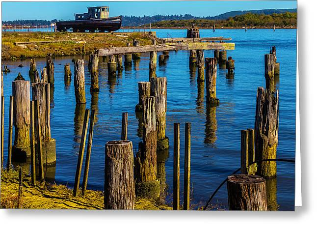 Old Boat And Pier Posts Greeting Card by Garry Gay