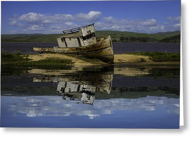 Old Boat Reflection Greeting Card by Garry Gay