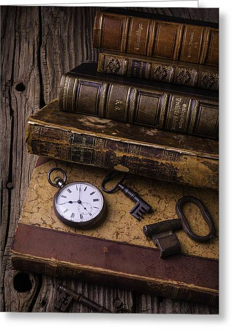 Knowledge Object Greeting Cards - Old Books And Watch Greeting Card by Garry Gay