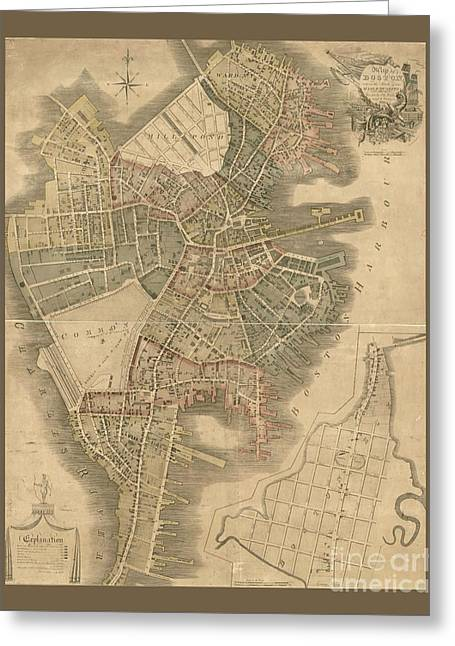 Old Boston Map Greeting Card by Pd