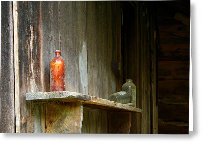 Shack Greeting Cards - Old Bottle Greeting Card by Kathryn Meyer