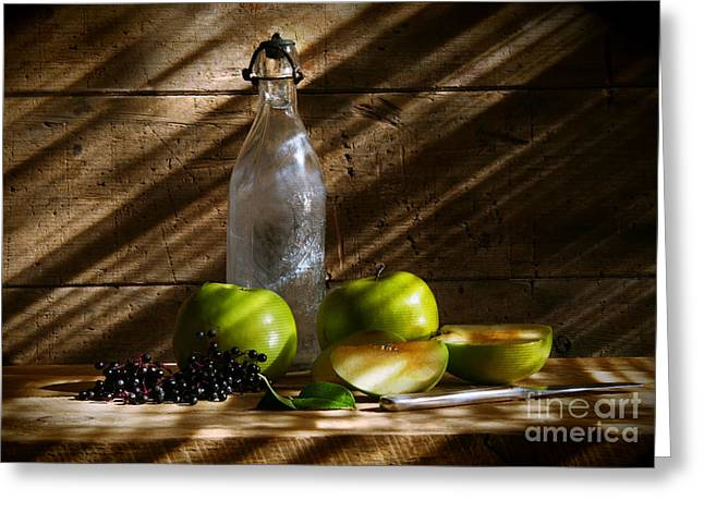 Apple Photographs Greeting Cards - Old bottle with green apples Greeting Card by Sandra Cunningham