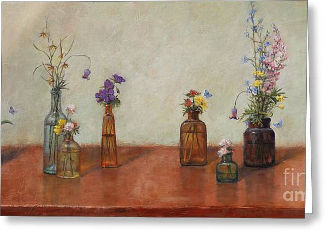 Floral Still Life Greeting Cards - Old Bottles and Wildflowers Greeting Card by Lori  McNee