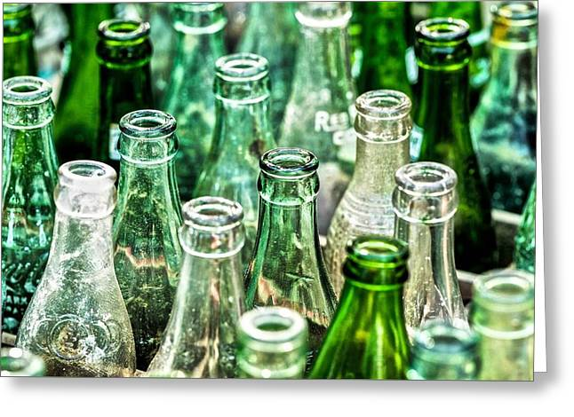 Glass Bottle Greeting Cards - Old bottles Greeting Card by Edde Burgess