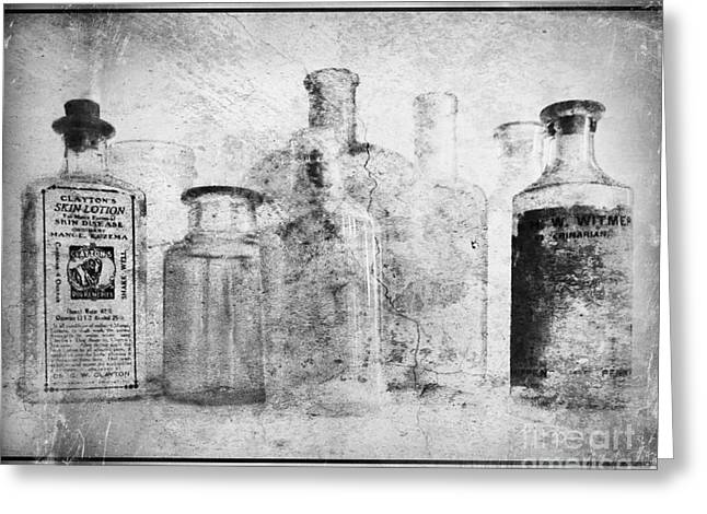 Old Bottles With Texture  Bw Greeting Card by Barbara Henry