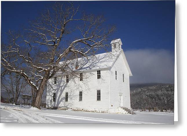 Boxley Valley Greeting Cards - Old Boxley Community Building and Church in Winter Greeting Card by Michael Dougherty