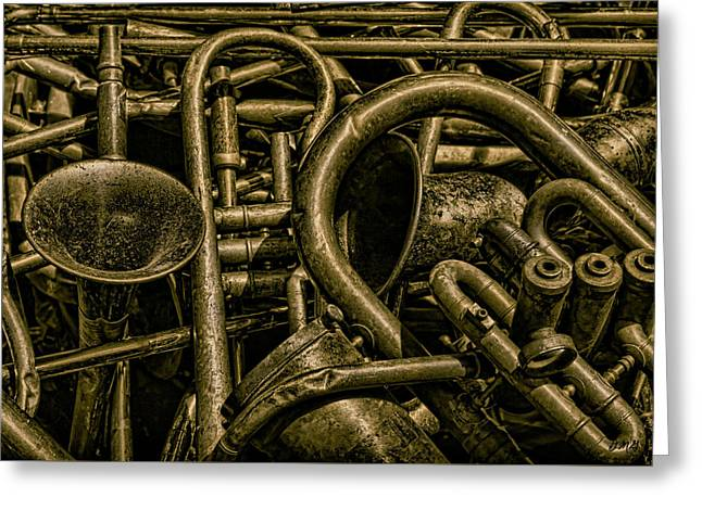 Old Brass Musical Instruments Greeting Card by Dave Gordon