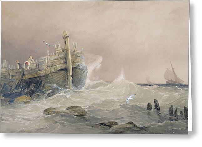 Sailing Ship Greeting Cards - Old Breakwater Greeting Card by Charles Bentley