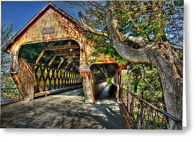 Covered Bridge Greeting Cards - Old Bridge at Woodstock Greeting Card by Michael Ciskowski
