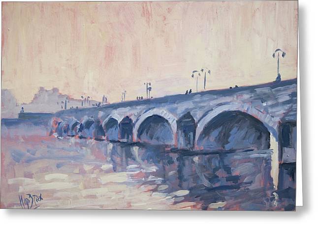 Old Bridge Of Maastricht In Warm Diffuse Autumn Light Greeting Card by Nop Briex