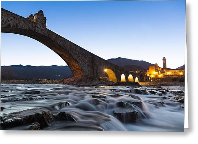 Medieval Tapestries - Textiles Greeting Cards - The humpbacked bridge in Bobbio Greeting Card by Marco Amenta
