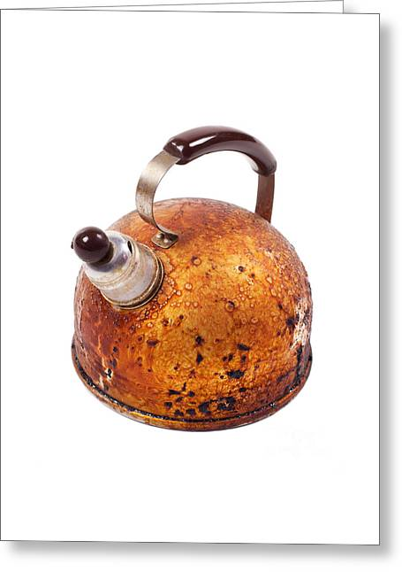 Old Brown Worn Kettle And Whistle On Spout  Greeting Card by Arletta Cwalina