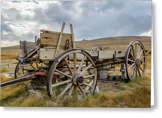 Old Buckboard Wagon Greeting Card by Mike Ronnebeck