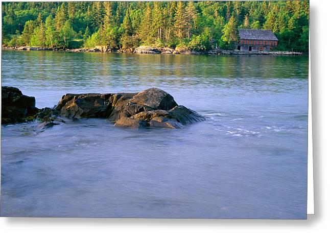 Maine Landscape Digital Greeting Cards - Old Building at High Tide Greeting Card by Amanda Kiplinger