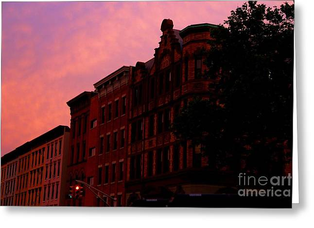 Light And Dark Greeting Cards - Old Buildings in Hoboken Greeting Card by Marina McLain