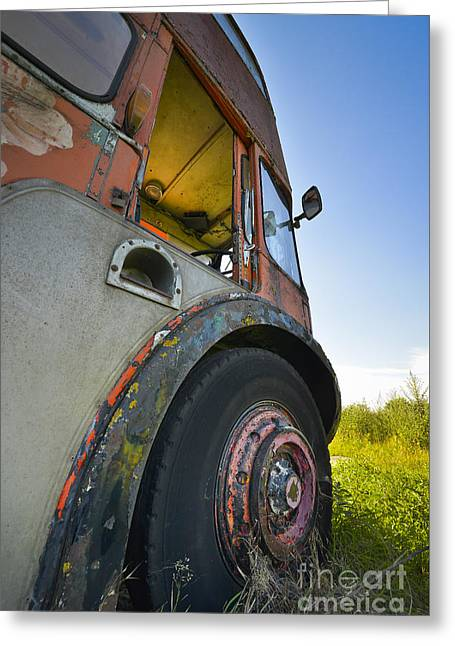 Primitive Desert Greeting Cards - Old Bus Greeting Card by Svetlana Sewell