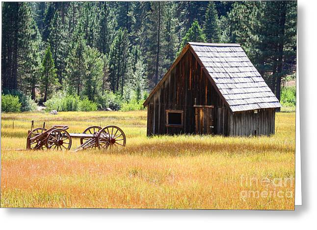 Barn Door Greeting Cards - Old cabin and wagon Greeting Card by Ava Peterson