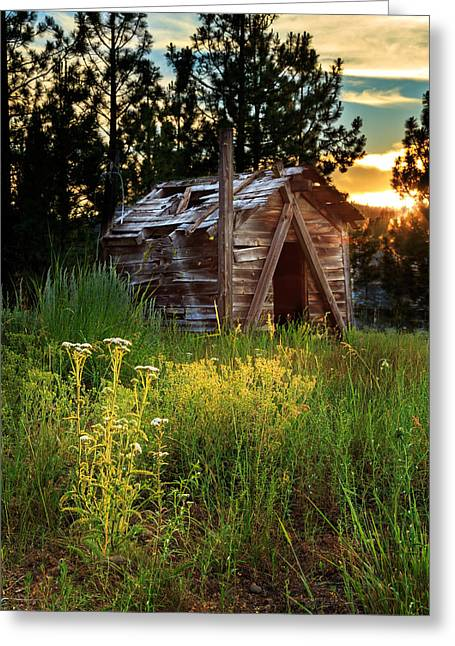 Vintage Greeting Cards - Old Cabin At Sunset Greeting Card by James Eddy