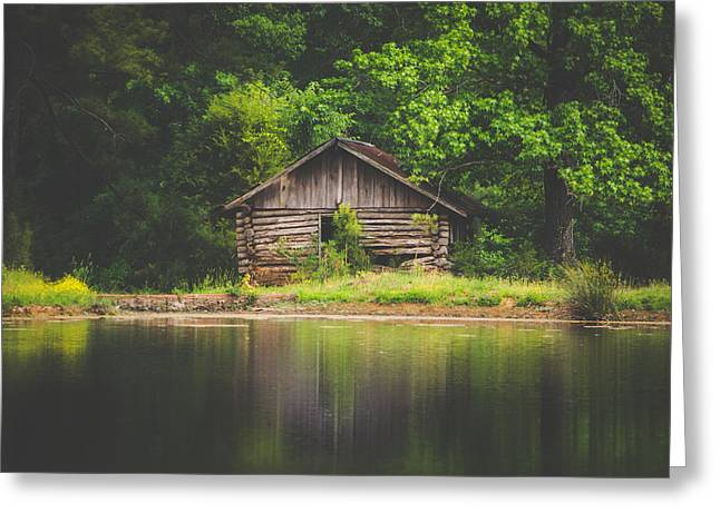 Old Cabin By The Lake Greeting Card by Shelby Young