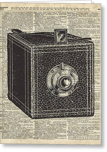 Art Book Greeting Cards - Old Camera Cube Greeting Card by Jacob Kuch