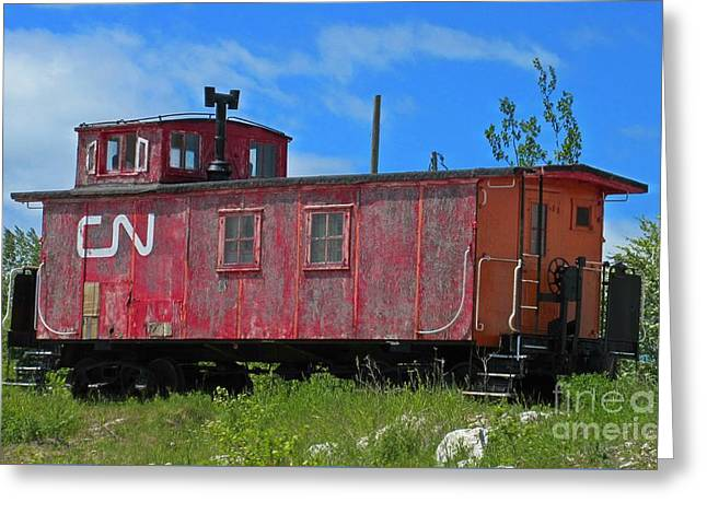 Old Caboose Greeting Cards - Old Canadian National Caboose Greeting Card by Crystal Loppie