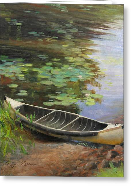 Old Wood Cabin Greeting Cards - Old Canoe Greeting Card by Anna Rose Bain