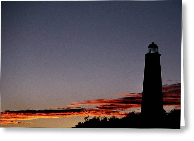 Lighthouse Artwork Greeting Cards - Old Cape Henry Sunrise Greeting Card by Skip Willits