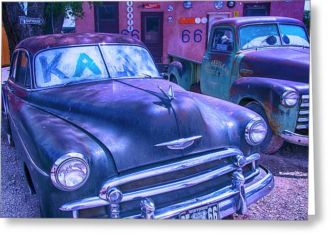 Old Car And Pickup Route 66 Greeting Card by Garry Gay