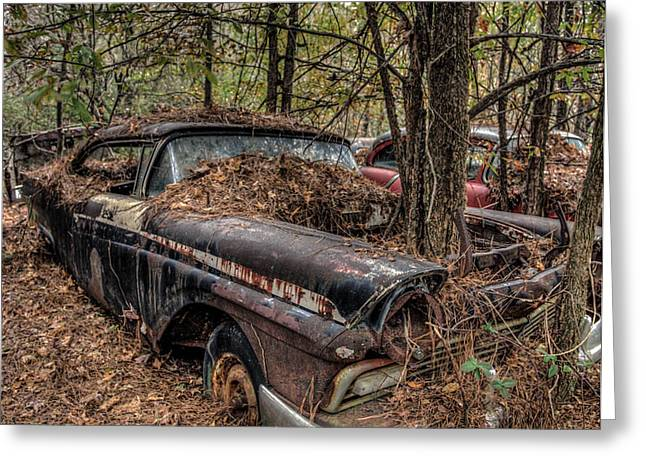 Junk Pyrography Greeting Cards - Old car in the woods Greeting Card by Clifford Loehr