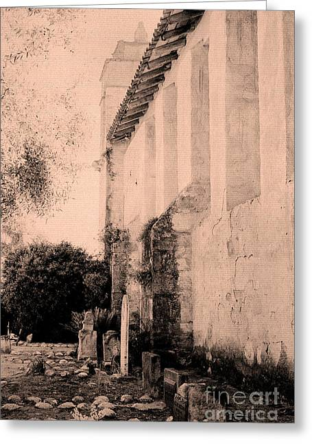 Old Carmel Mission Cemetery Greeting Card by Paul W Faust - Impressions of Light