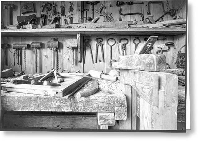 Saw Greeting Cards - Old Carpentry Tools Greeting Card by Roy Pedersen