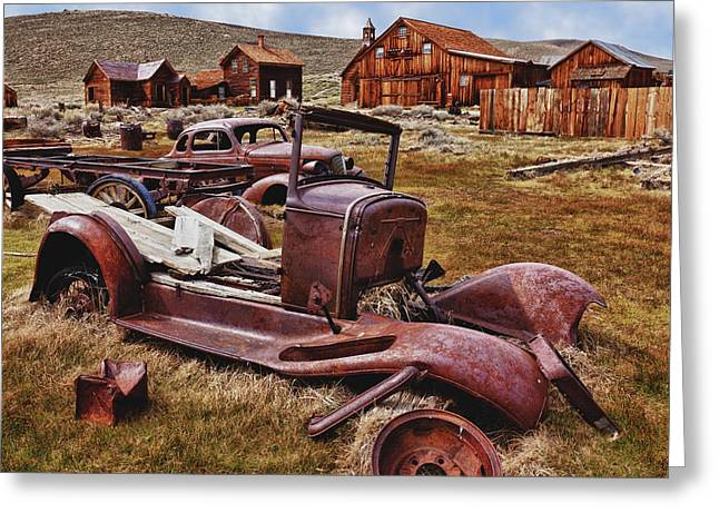 Rusted Cars Greeting Cards - Old cars Bodie Greeting Card by Garry Gay