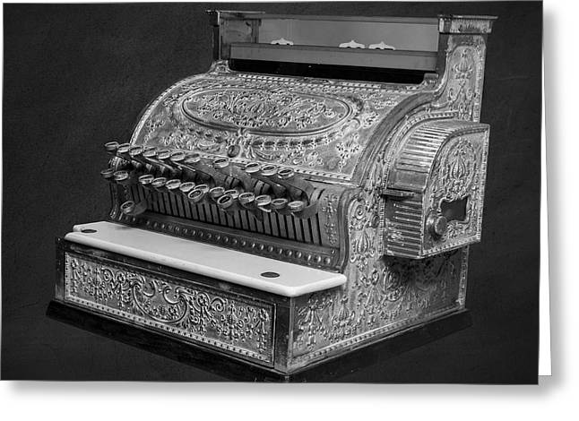 Checked Greeting Cards - Old Cash Register Square Greeting Card by Edward Fielding