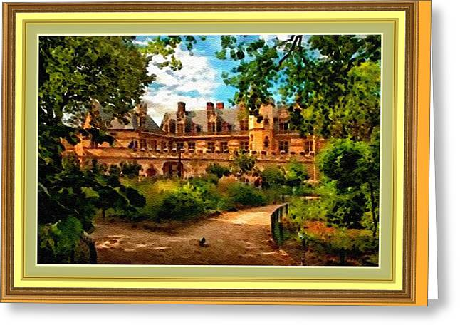 Cellphone Greeting Cards - Old Castle - France H B With Decorative Ornate Printed Frame. Greeting Card by Gert J Rheeders