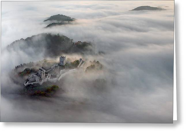 Fog Greeting Cards - Old Castle Greeting Card by Matjaz Cater